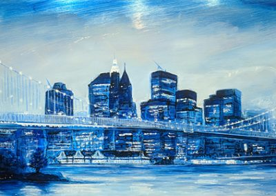 Brooklyn Bridge mixed media on metal 180cm x 60cm