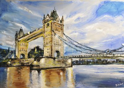 Tower Bridge mixed media on metal
