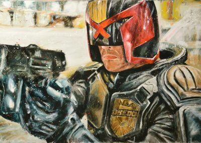 Dredd mixed media on metal