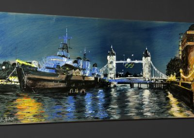 HMS Belfast and Tower Bridge mixed media on metal