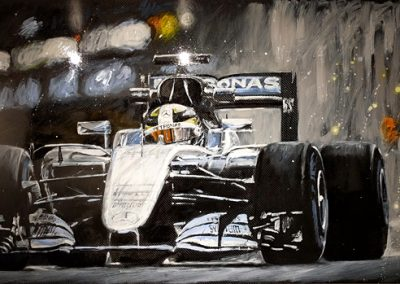 Lewis Hamilton mixed media on carbon fibre sheet commission