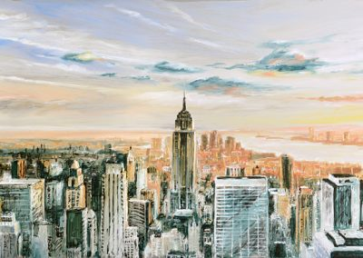 Manhattan Sunset mixed media on metal 120cm x 60cm