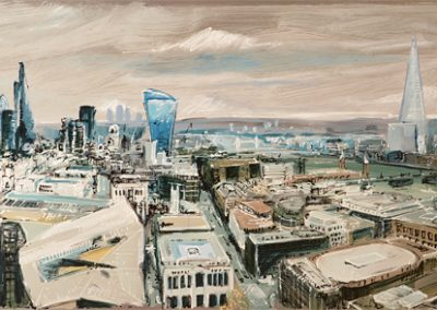 The View from St Pauls mixed media on metal180cm x 60cm
